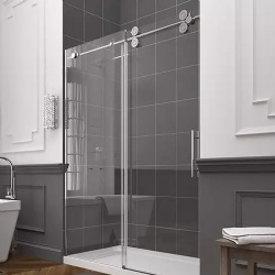 Frameless Sliding Glass Shower Barn Door for Hospitality Propereties