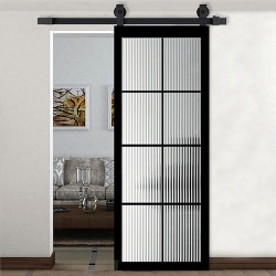Bypass Sliding Bathroom Glass Barn Door with Aluminum Frame and Grilles
